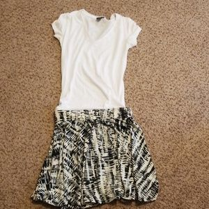 Small black and white shirt and skirt outfit